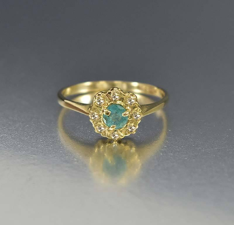 Antique Gold Diamond Halo Emerald Engagement Ring - Boylerpf