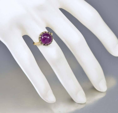 Amethyst Diamond Paste Victorian Engagement Ring