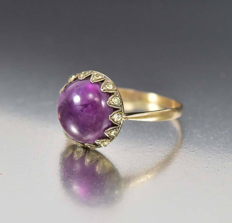 Amethyst Diamond Paste Victorian Engagement Ring - Boylerpf