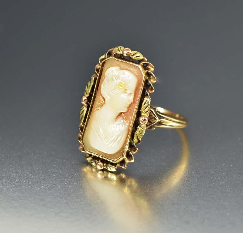 Gold Edwardian Antique Carved Shell Cameo Ring - Boylerpf
