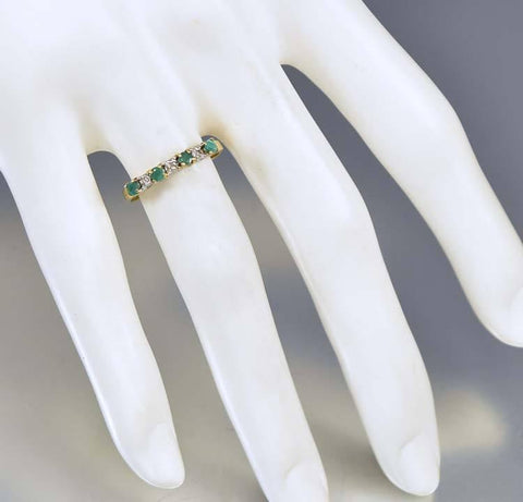 Vintage 10K Gold Diamond Emerald Eternity Band Ring