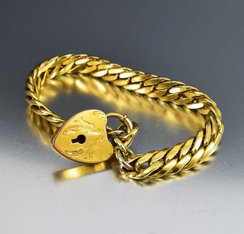 Edwardian Gold Heart Antique Padlock Watch Chain Bracelet - Boylerpf