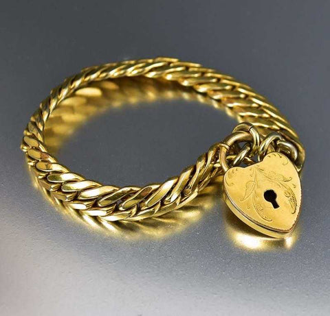 Edwardian Gold Heart Antique Padlock Watch Chain Bracelet