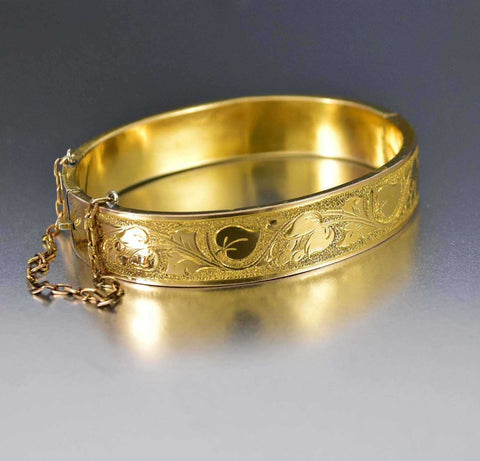 Antique Engraved Gold Filled Victorian Bangle Bracelet