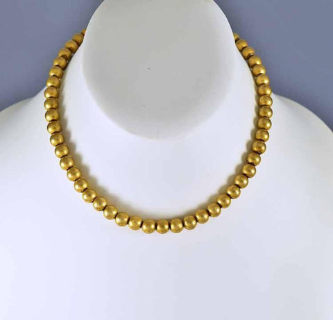 Antique Gold Filled Ball Bead Choker Necklace