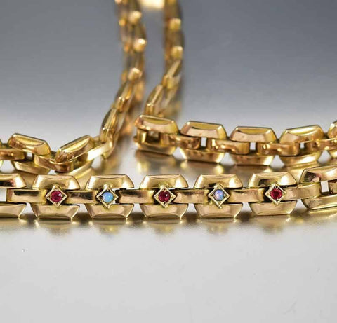 Vintage Art Deco Gold Ruby Paste Opal Necklace