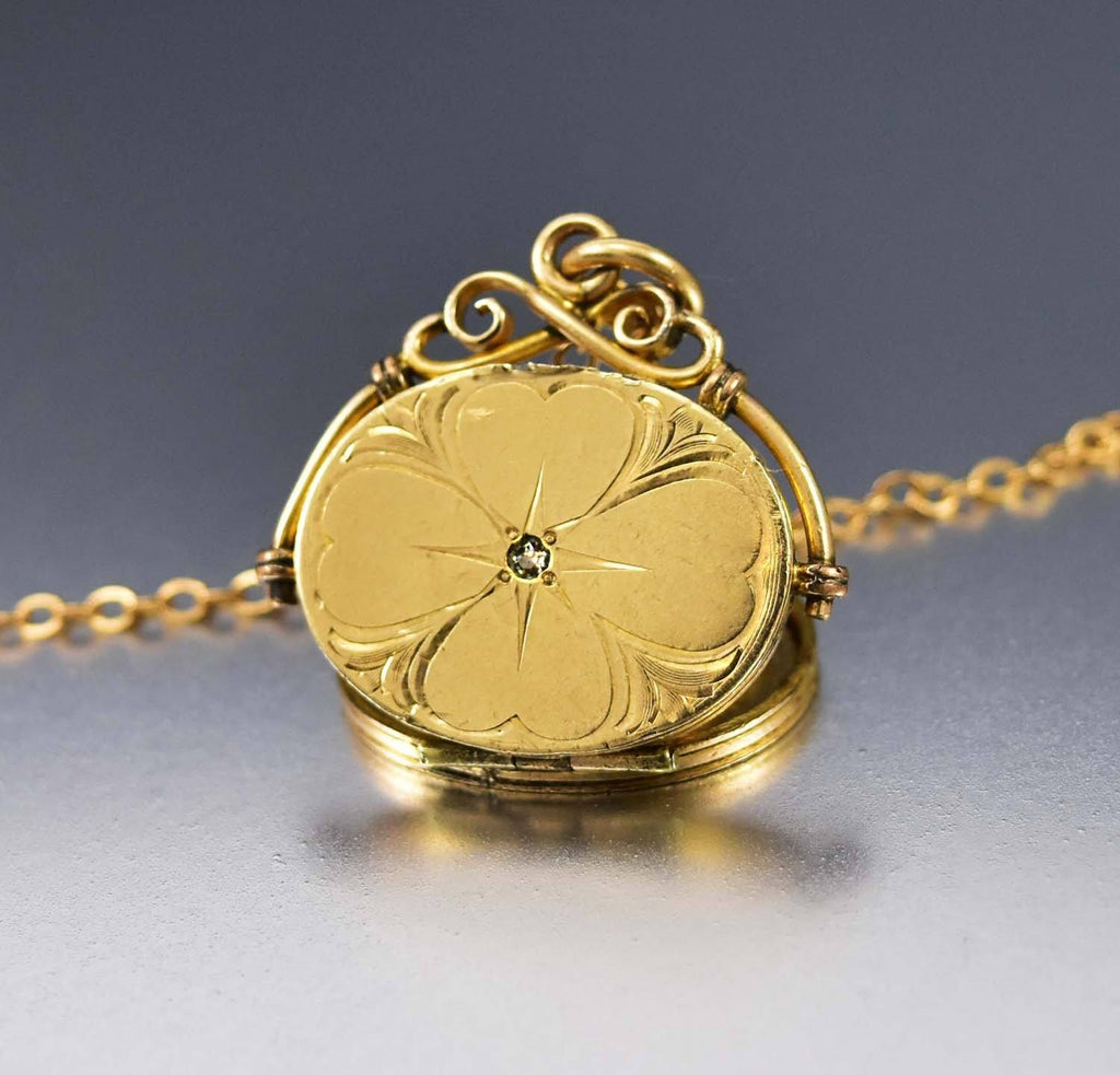 12K Gold Filled Antique  Engraved Locket Necklace - Boylerpf