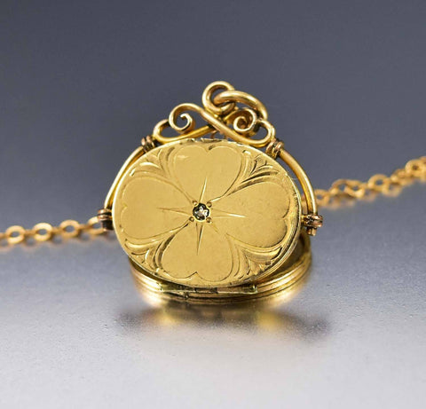 12K Gold Filled Antique  Engraved Locket Necklace