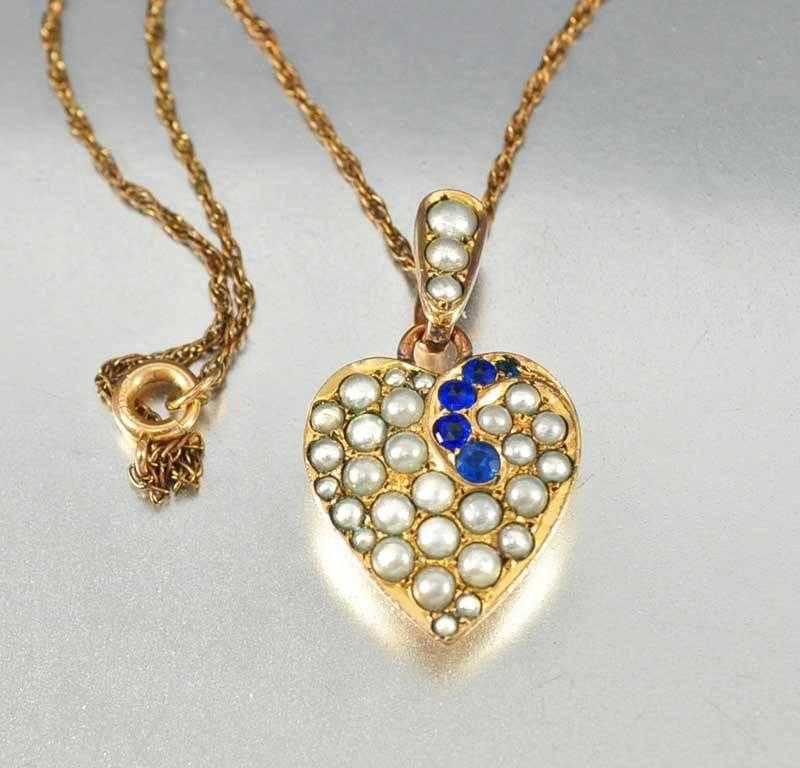 Antique pearl sapphire puffy heart pendant necklace boylerpf antique pearl sapphire puffy heart pendant necklace aloadofball Gallery