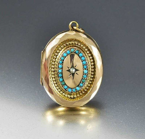 Antique Victorian Pearl Turquoise Gold Locket w Dog