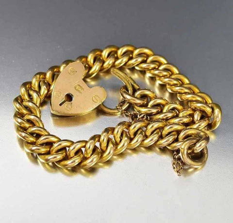 Antique Gold Heart Padlock Curb Chain Bracelet