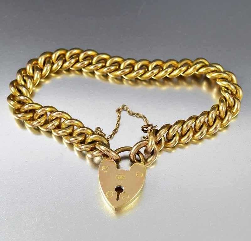 Antique Gold Heart Padlock Curb Chain Bracelet - Boylerpf - 1