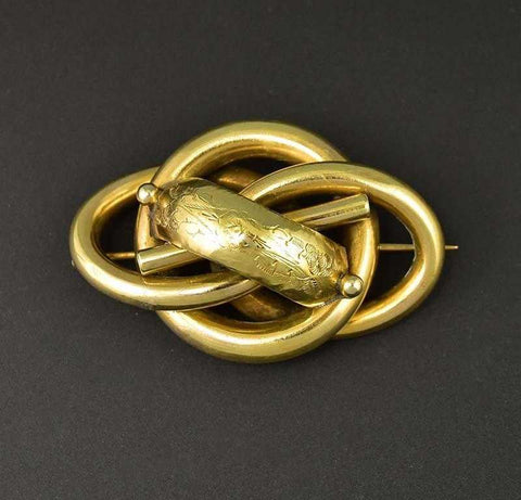 Antique Gold Love Knot Engraved Brooch C 1880s