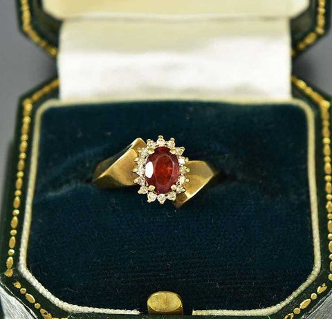Vintage Garnet And Diamond Halo Engagement Ring