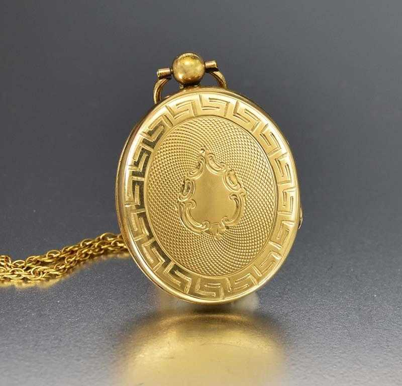 Beautiful Edwardian Gold Locket Pendant Necklace - Boylerpf