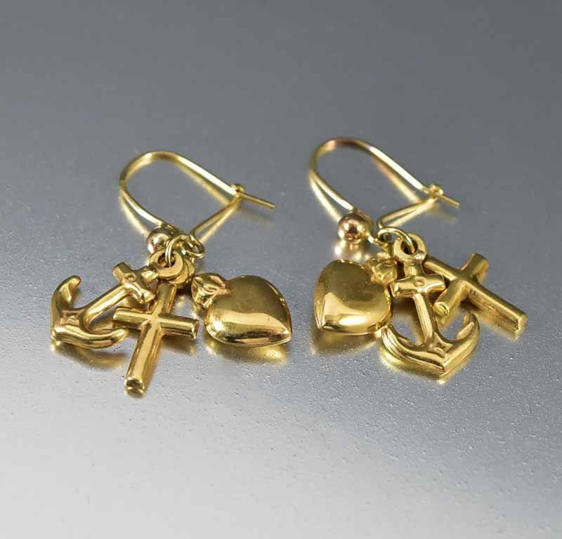Antique Gold Anchor Cross Puffy Heart Earrings - Boylerpf - 1