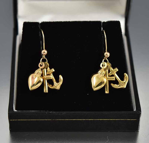 Antique Gold Anchor Cross Puffy Heart Earrings