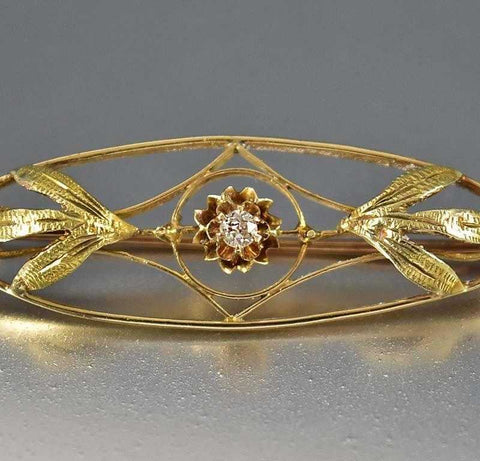Antique Gold Edwardian Diamond Brooch Bar Pin