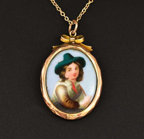 Miniature Portrait Antique Rose Gold Pendant Necklace
