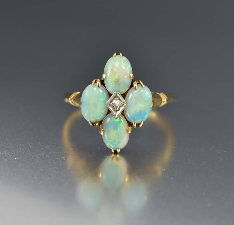 Antique Gold Opal and Diamond Ring - Boylerpf