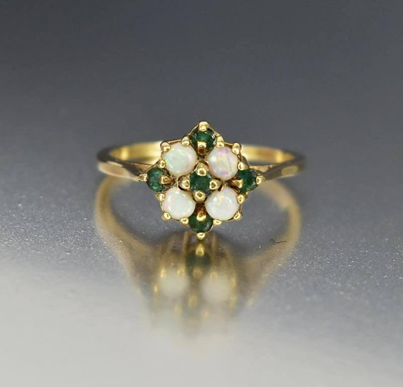English Gold Emerald Opal Engagement Ring Victorian Revival - Boylerpf