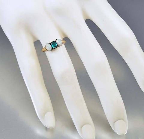 Gold Opal Emerald Three Stone Antique Ring