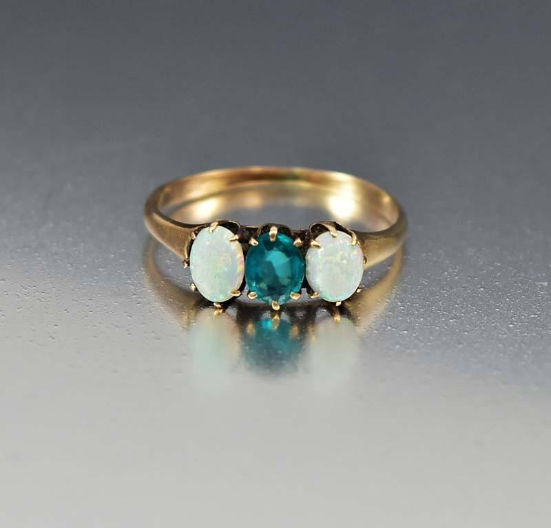 Gold Opal Emerald Three Stone Antique Ring - Boylerpf