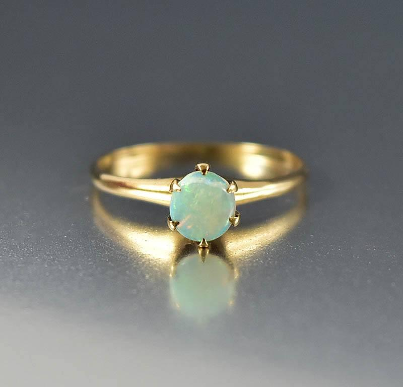 Antique Gold Opal Edwardian Engagement Ring - Boylerpf - 1