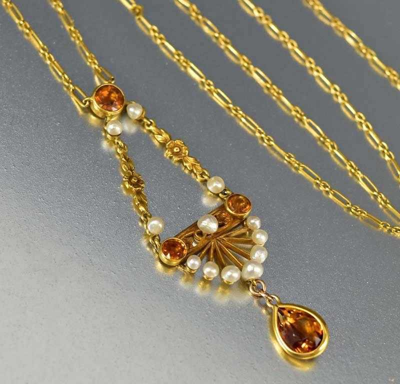 Gold, Pearl and Citrine 1900s Lavalier Necklace - Boylerpf