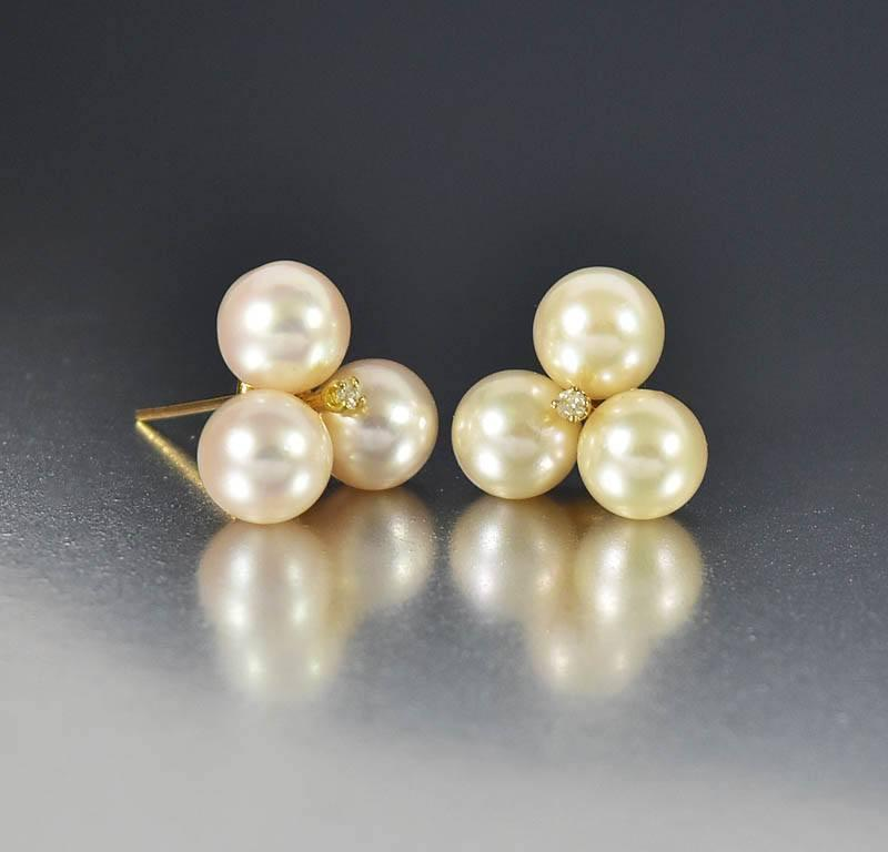 Mikimoto 14K Gold Cultured Pearl Diamond Earrings - Boylerpf - 1