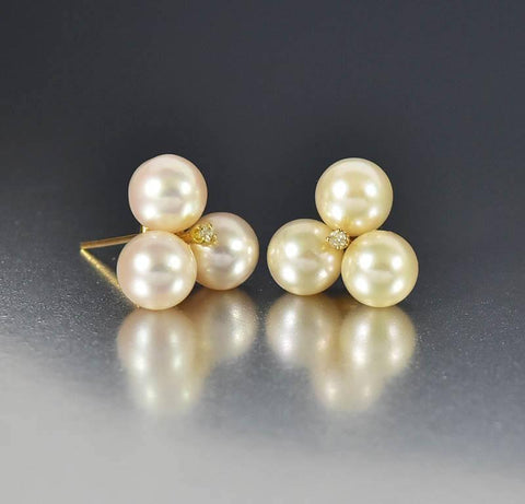 Mikimoto 14K Gold Cultured Pearl Diamond Earrings