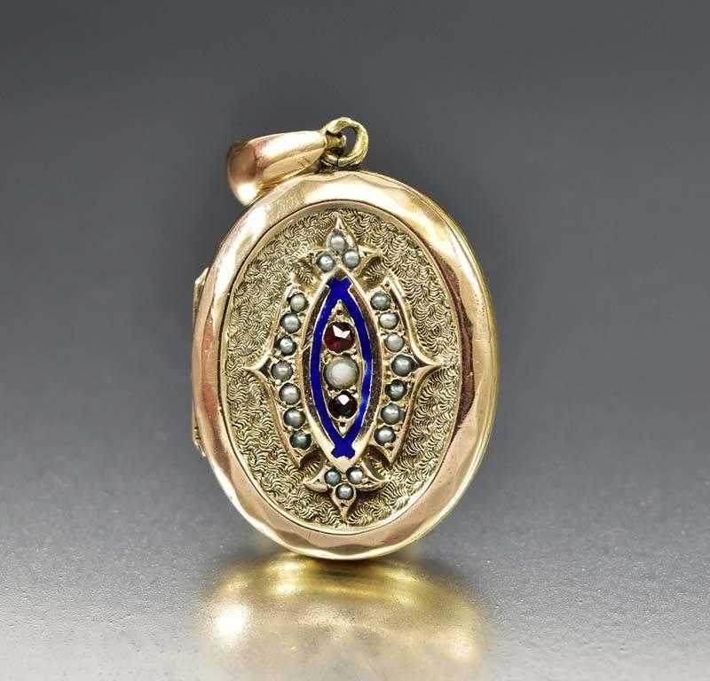 Victorian English Enamel Pearl Garnet 9K Gold Locket - Boylerpf - 1
