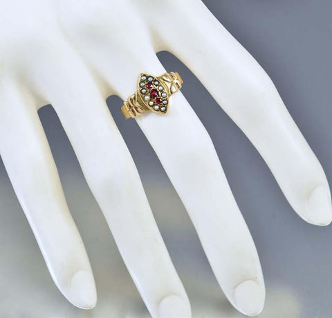 Antique Rose Gold Seed Pearl Garnet Navette Ring