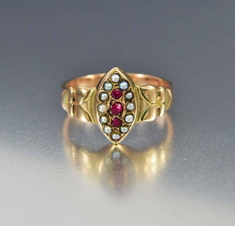 Antique Rose Gold Seed Pearl Garnet Navette Ring - Boylerpf