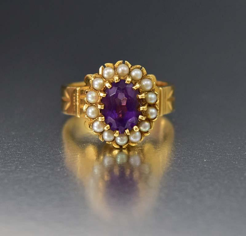 Superb 14K Gold Amethyst Pearl Halo Ring w Appraisal - Boylerpf