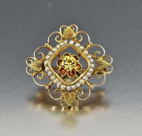 Victorian Golden Citrine Antique Halo Engagement Ring