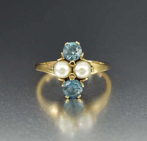 Art Deco Sugarloaf Emerald Paste Pearl Gold Ring