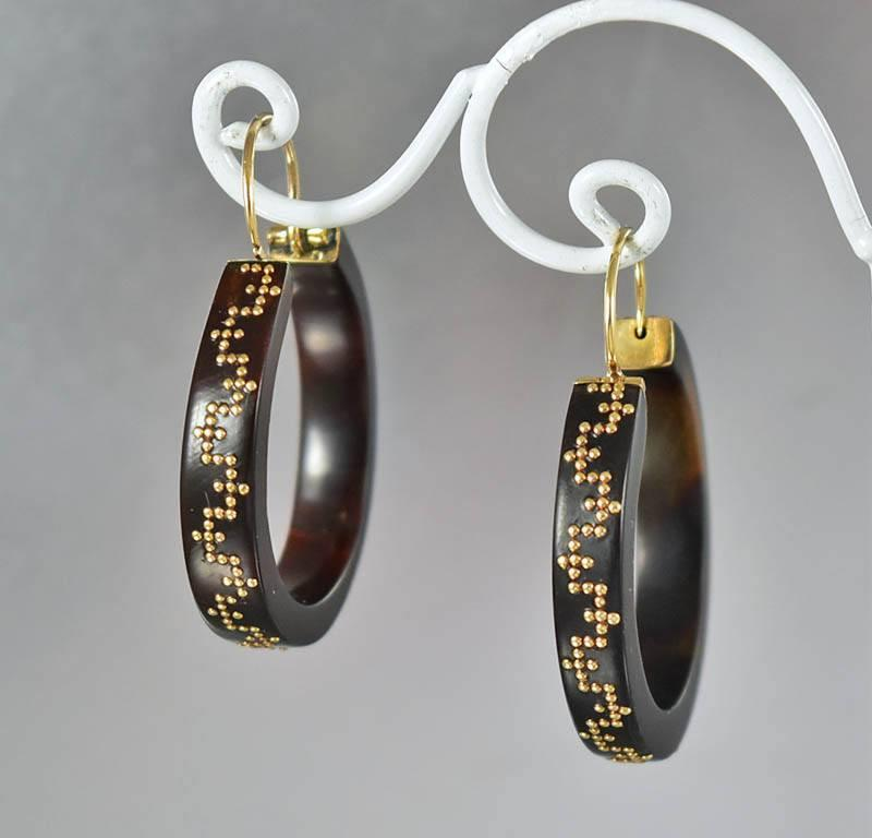 Antique Tortoise Shell 14K Gold Pique Earrings - Boylerpf - 1