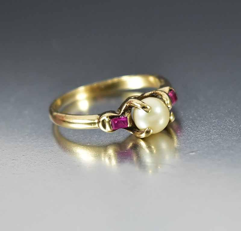 Vintage Art Deco Gold Pearl Ruby Ring - Boylerpf - 1