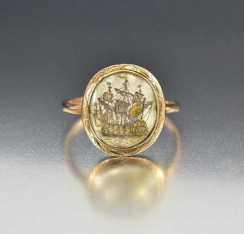 Antique English Gold Sepia Georgian Ship Ring