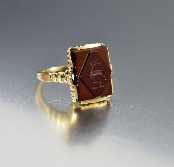 Wax Seal Stamp Stag Intaglio Gold Ring Antique 1900s