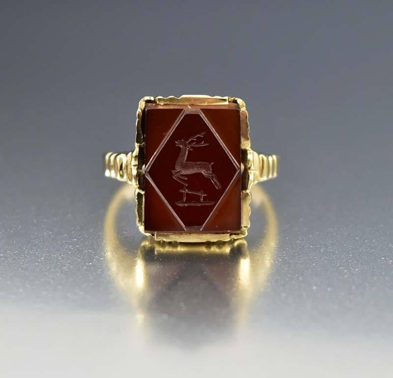 Wax Seal Stamp Stag Intaglio Gold Ring Antique 1900s - Boylerpf