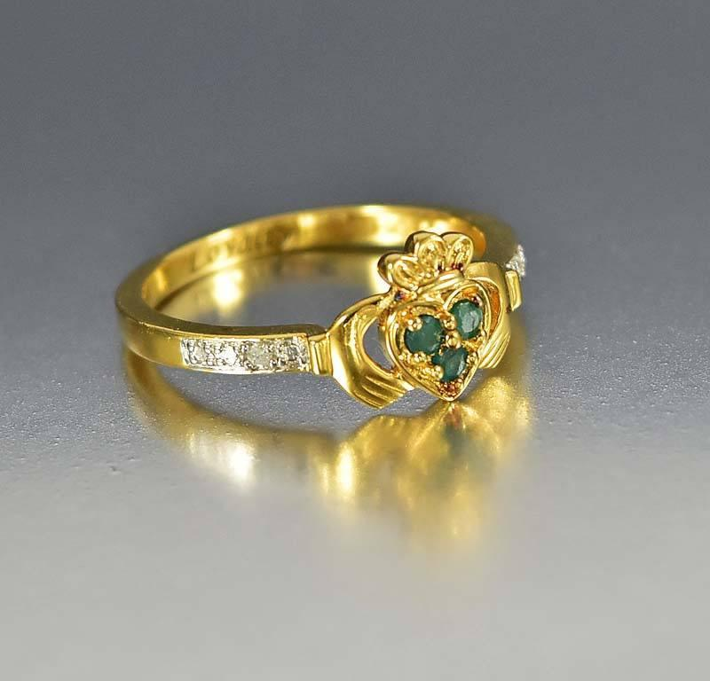 Gold Vermeil Diamond Emerald Claddagh Ring - Boylerpf