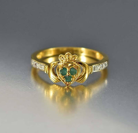 Gold Vermeil Diamond Emerald Claddagh Ring