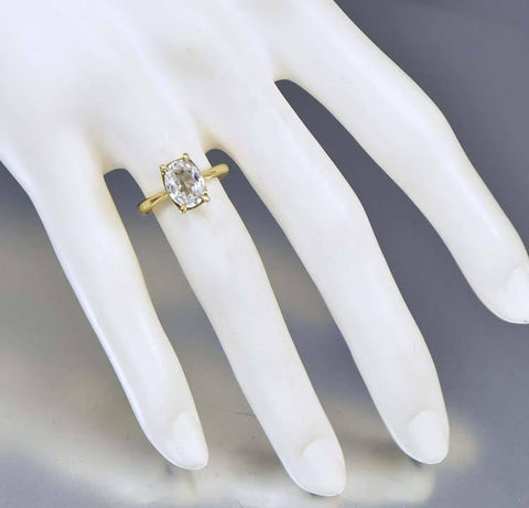 Vintage 10K Gold White Sapphire Engagement Ring