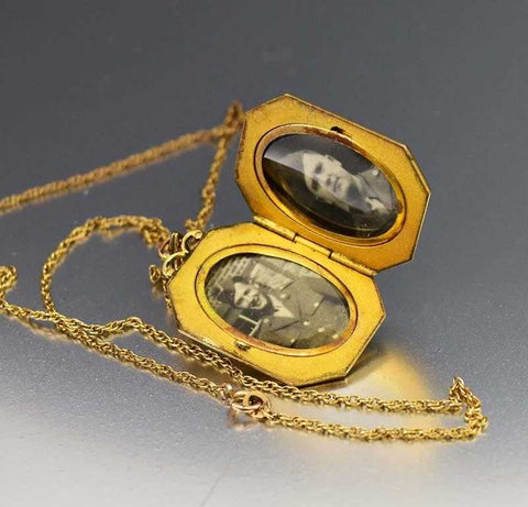 Vintage 12K Gold Filled Engraved Locket Necklace 1930s
