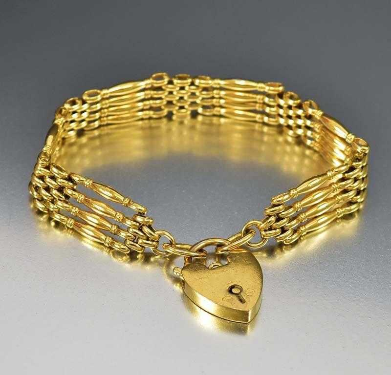 Antique Victorian Heart Padlock Gold Gate Bracelet - Boylerpf - 1