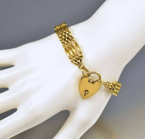 Antique Victorian Heart Padlock Gold Gate Bracelet