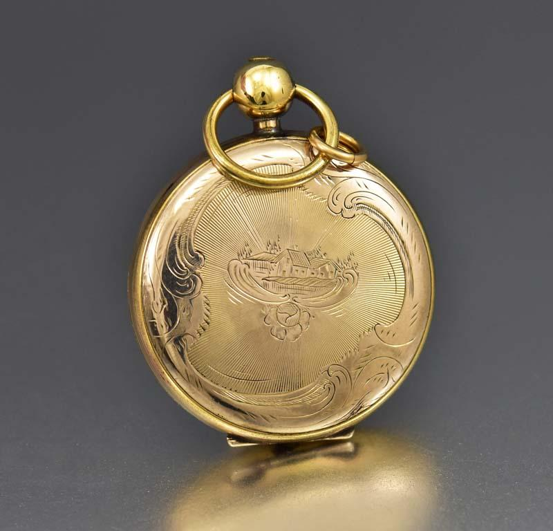 Amazing Civil War Gold Pocket Watch Locket w Tintype - Boylerpf
