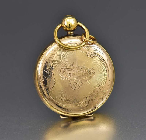 Amazing Civil War Gold Pocket Watch Locket w Tintype